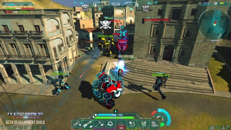 The Autobots taking on the Decepticons in Transformers Universe.