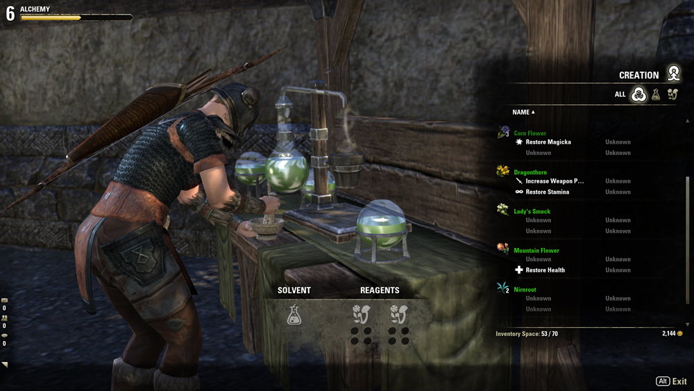 A picture of the alchemy crafting window, which shows a list of potential plants to add to a brew.