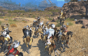 A large party in Final Fantasy XIV: A Realm Reborn.