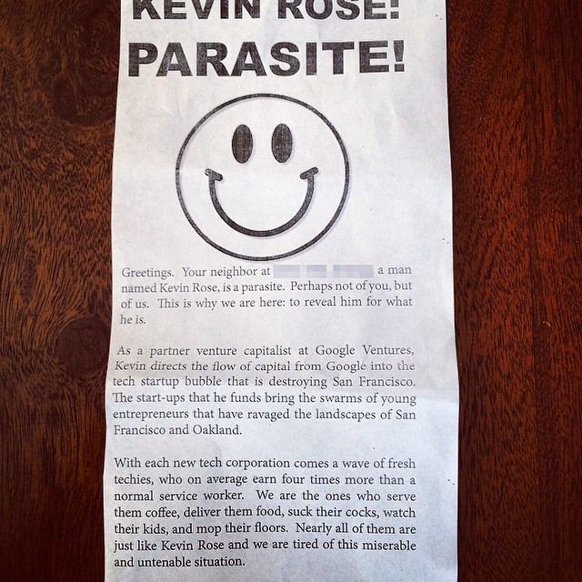 The flier being passed out to neighbors of Google Ventures partner Kevin Rose.