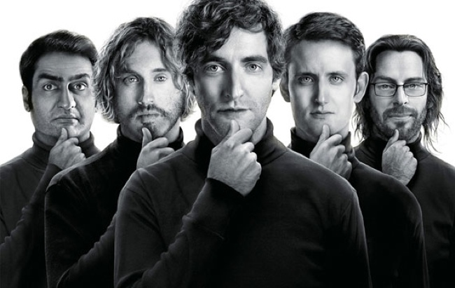 HBO's Silicon Valley cast from left to right: Kumail Nanjiani as Dinesh; T.J. Miller as Ehrlich; Thomas Middleditch as Richard; Zach Woods as Jared; and Martin Starr as Gilfoyle