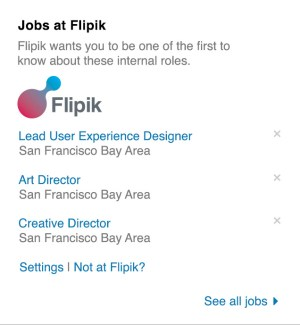 LinkedIn's internal jobs widget.