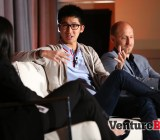 Brian Wong, center, co-founder and chief executive of Kiip, and Gregg Colvin, chief operating officer of Universal McCann, right, at VentureBeat's Mobile Summit conference in Sausalito, Calif., on April 14.