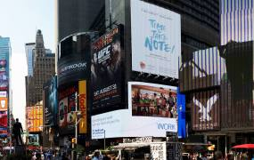 A billboard teasing the Galaxy Note 3 in 2013.