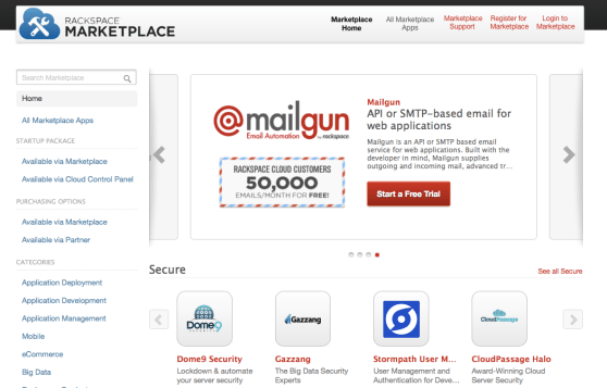 Rackspace's app store, powered by AppDirect