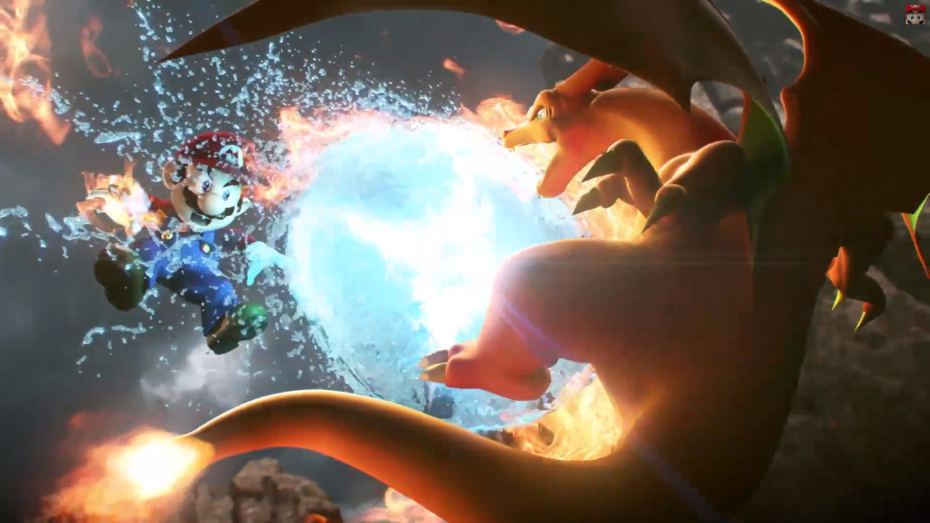 Charizard and Mario battling in Super Smash Bros. for Wii U and 3DS.