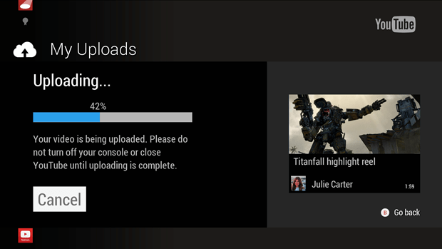 YouTube Xbox One app