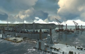 A 3D recreation of the Mulberry Harbor built after D-Day.