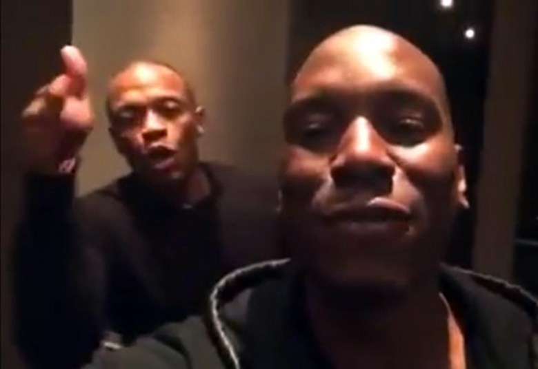 A still of Dr. Dre (left) and Tyrese Gibson from the infamous video.