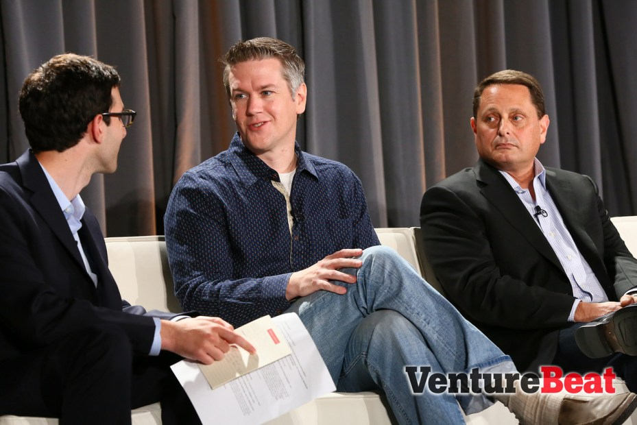 From left, VentureBeat's Jordan Novet, Cloudera's Charles Zedlewski, and Intel's Ron Kasabian, speak at VentureBeat's DataBeat conference in San Francisco today.