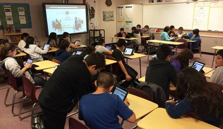 Mr Higuera's history class  creating their Classcraft characters.