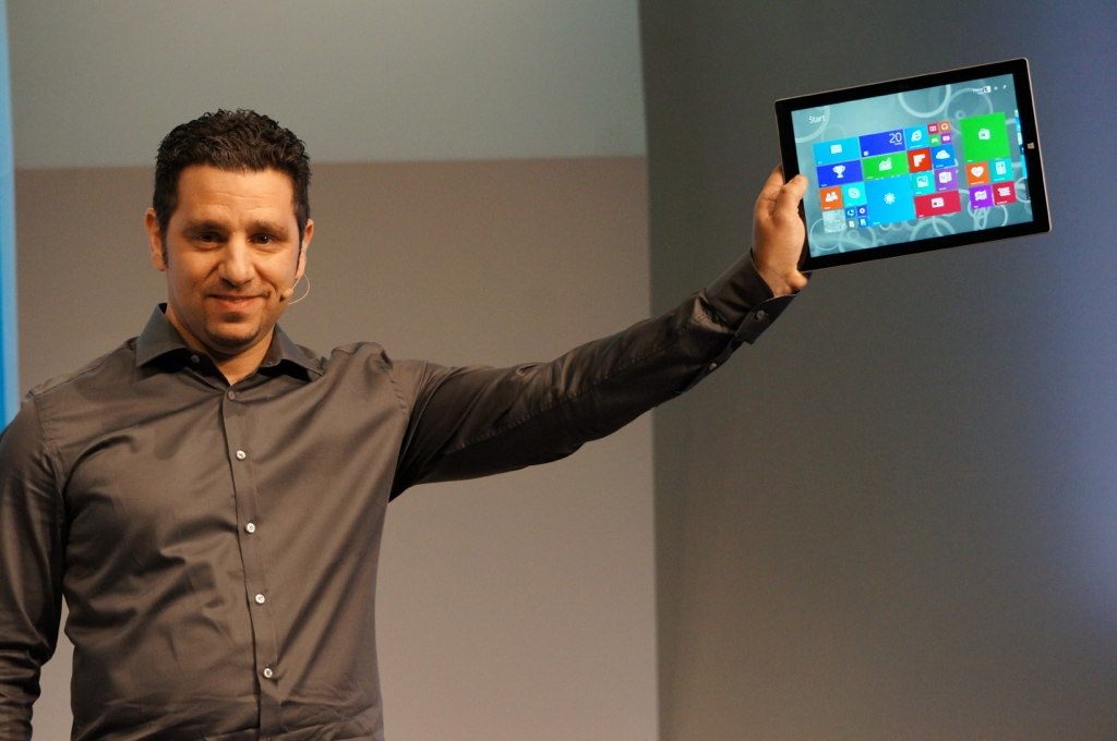 Surface head Panos Panay holding the Surface Pro 3
