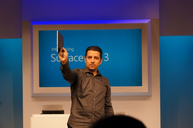 Surface head Panos Panay shows off the thin profile of the Surface Pro 3.