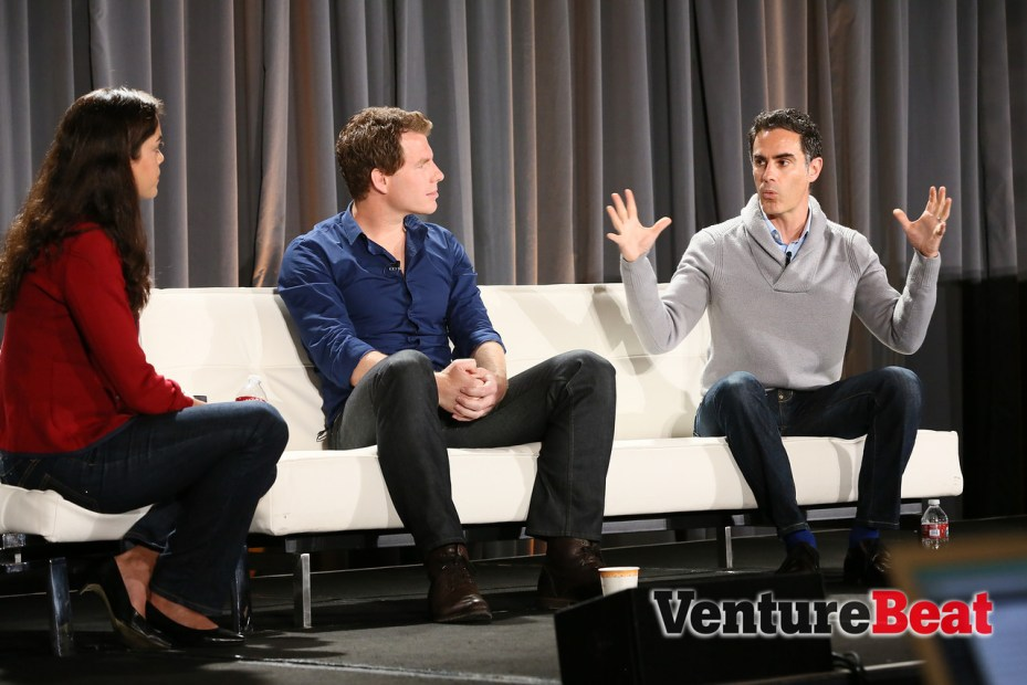 From left, Bloomberg Beta's Shivon Zilis, QuidSean Gourley, and Vivaki's Dan Buczaczer, at VentureBeat's DataBeat conference in San Francisco today.