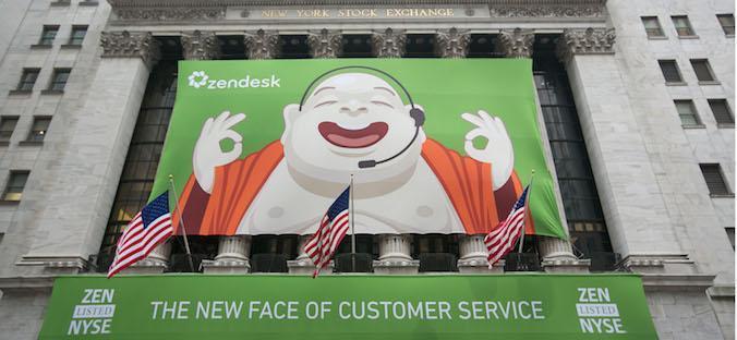 A Zendesk poster adorns the New York Stock Exchange Thursday morning.