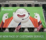 A Zendesk poster adorns the New York Stock Exchange Thursday morning.