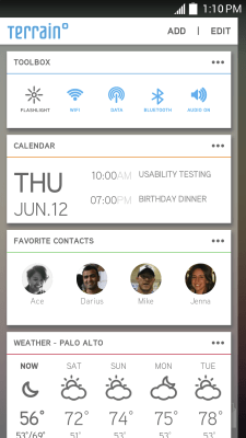 Contacts and calendar cards in Terrain.