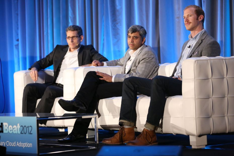 Amit Singh, middle, at VentureBeat's 2012 CloudBeat conference.