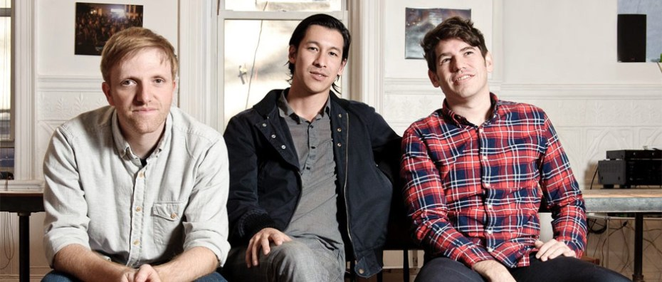 Left to right: Kickstarter cofounder Charles Adler, creator Perry Chen, and cofounder Yancey Strickler.