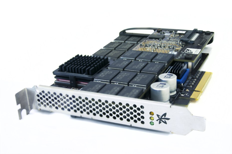 A Fusion-io ioDrive Duo flash card for a server's PCie slot.