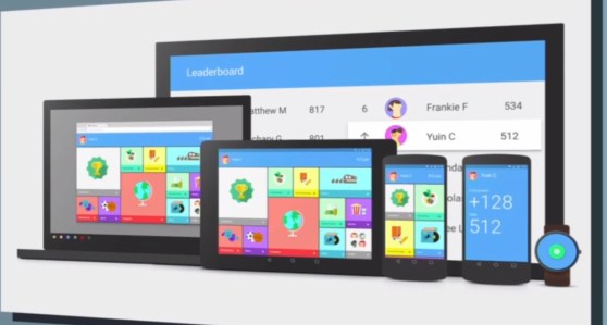 A shot of Android L on smartphones and tablets, as well as material design across other devices.