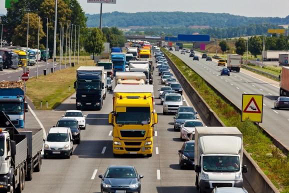 A highway traffic jam.
