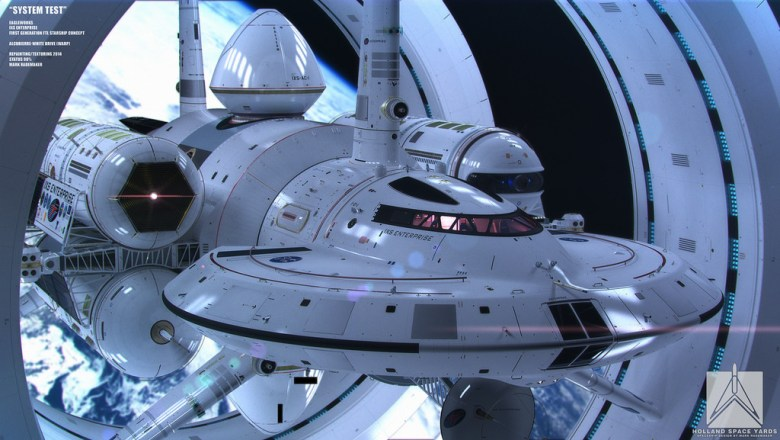 The concept art for what a theoretical warp drive-enabled NASA spacecraft could look like.
