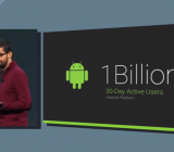 Google senior vice president Sundar Pichai with a slide boasting of Android's 1 billion users.