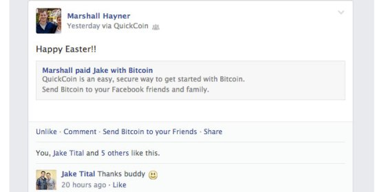 Facebook feed after receiving BitCoin.