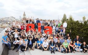 The BlaBlaCar team gathers on its office's roof in Paris