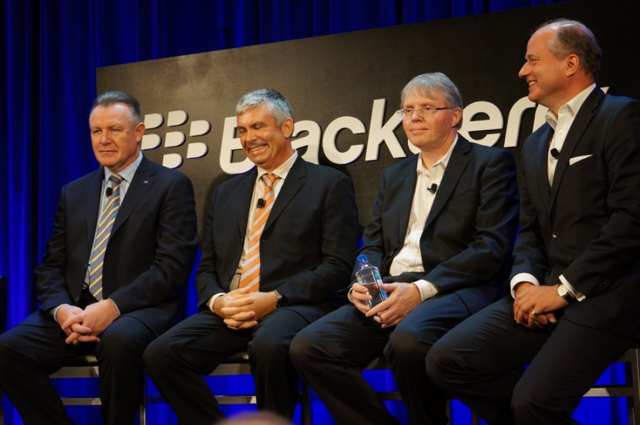 A lineup of BlackBerry's execs: Enterprise head John Sims; BB10 OS head Charles Egan; QNX head Dan Dodge; Secusmart CEO  Hans-Christoph Quelle