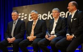 A lineup of BlackBerry's execs: Enterprise head John Sims; BB10 OS head Charles Egan; QNX head Dan Dodge; Secusmart CEO  Hans-Christoph Quelle