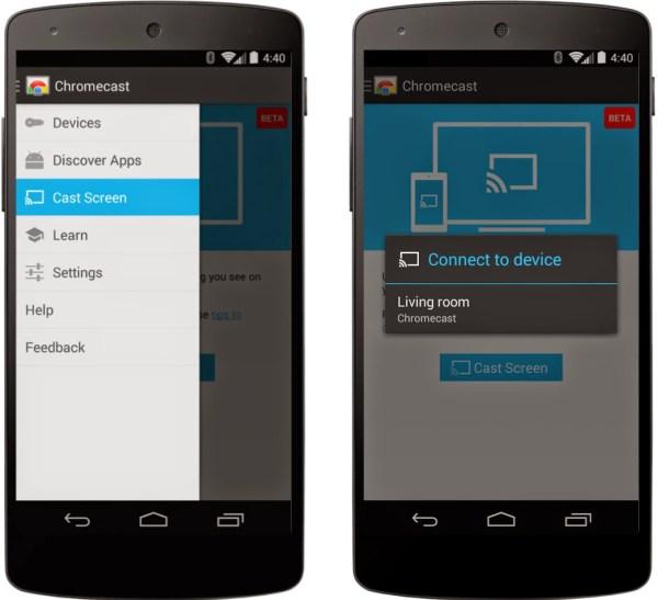 Chromecast Android mirroring phone