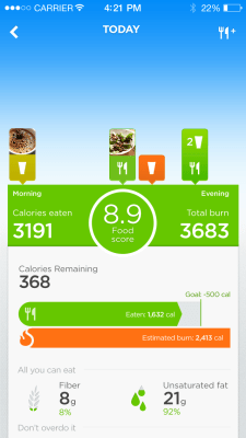 Jawbone's new Up app food tracking summary