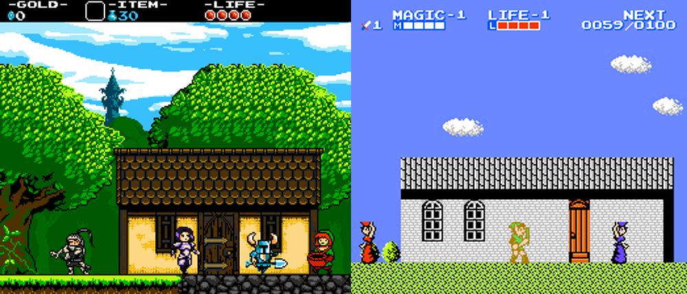 Shovel Knight vs. Zelda II: The Adventure of Link.