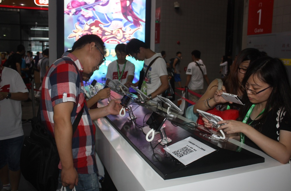 Mobile games on display at the ChinaJoy 2014 event.