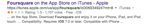 Foursquare's user rating in the App Store prior to the reboot.