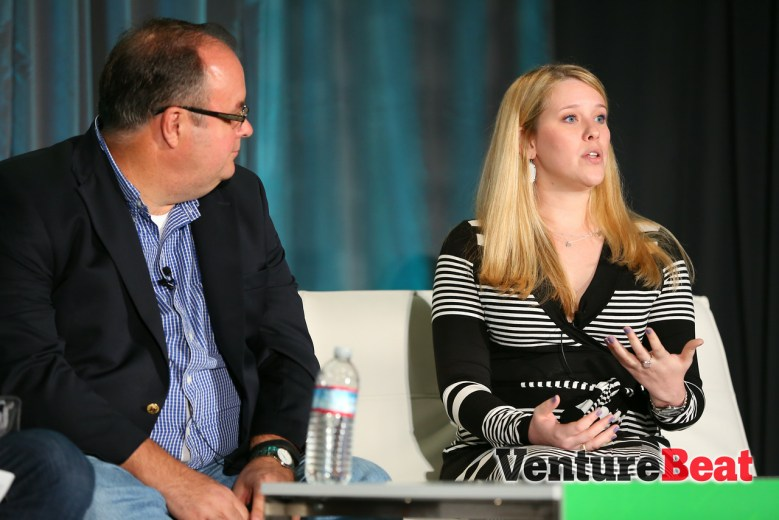Amanda O'Brien, right, e-marketing manager at Jiffy Lube, speaks alongside Sq1's Jim Badum at VentureBeat's GrowthBeat conference in San Francisco on Aug. 7.