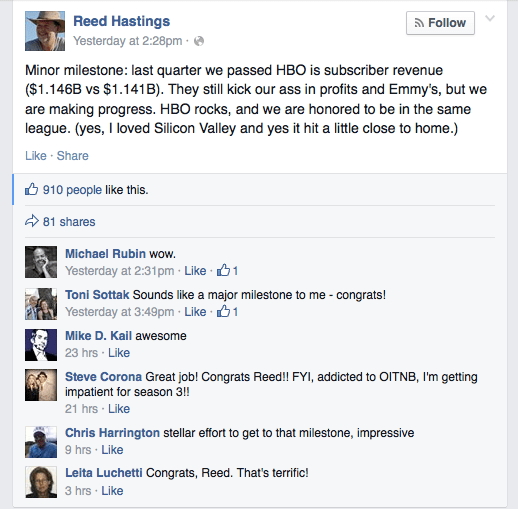 Netflix's Reed Hastings tweaks HBO on Facebook