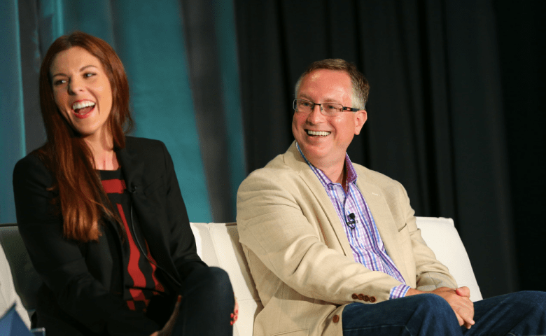 GrowthBeat speakers Kimberly Pointer of Kabam and Scott Brinker of Ion Interactive.
