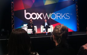 Actor and musician Jared Leto, left, speaks with Box chief executive Aaron Levie at Box's BoxWorks conference in San Francisco on Sept. 3.