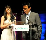 Jolie O'Dell, left, at the Crunchies in San Francisco on Feb. 10.
