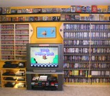 Just one wall of games in Nintendo Twizer's collection.
