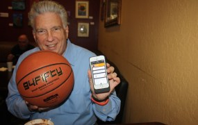 Jim Barry of CEA shows off a smart basketball