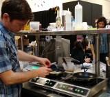 Hampton Creek's Ben Roche prepares scrambled eggs using one plant protein.