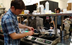 Hampton Creek's Ben Roche prepares scrambled eggs using one plant protein.