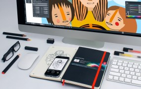 The drawn image in the paper notebook, in the app, and in Creative Cloud