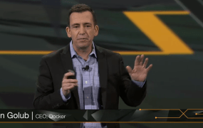 Docker chief executive Ben Golub speaks during the keynote at Amazon's re:Invent conference in Las Vegas on Nov. 13.