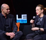 Axelle Lemaire, (right) France's digital minister, walks with Loic Le Meur at LeWeb 2014 in Paris.