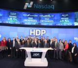 The Hortonworks team is on hand at the Nasdaq on the day the company goes public.